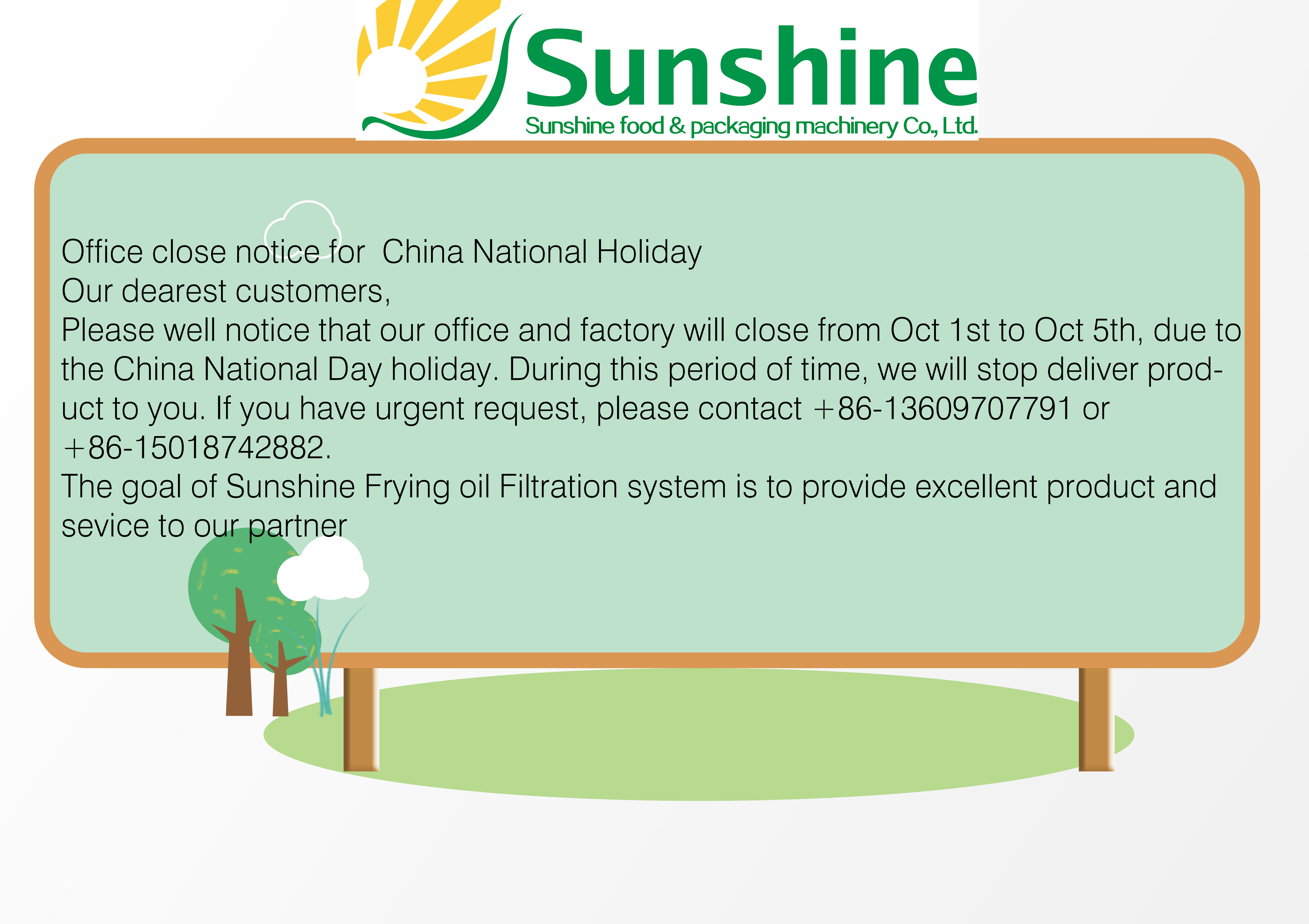 Office close notice for  China National Holiday