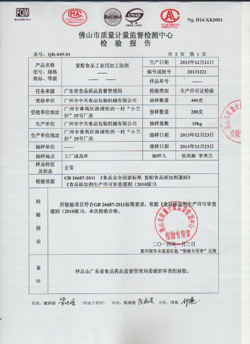 Testing Report of Filtering Compound